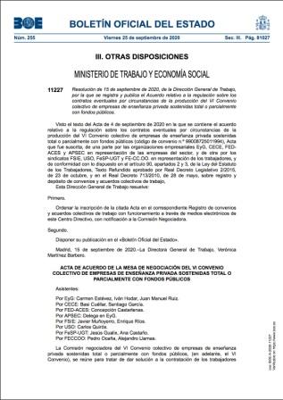 200925 PUBLICADO EN EL BOE EL ACUERDO PARA LA CONTRATACIÓN DE PERSONAL ADICIONAL