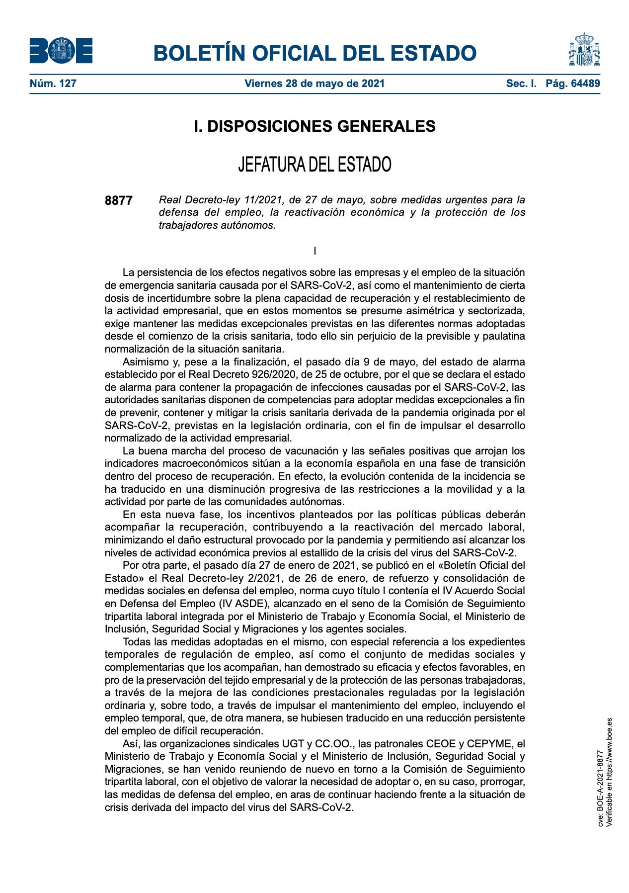 210602 ART WEB PUBLICADO EL REAL DECRETO LEY SOBRE MEDIDAS URGENTES PARA LA DEFENSA DEL EMPLEO